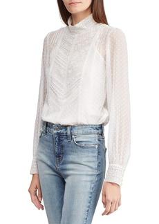 Lauren Ralph Lauren Swiss-Dot Lace-Trimmed Top