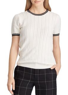 Lauren Ralph Lauren Textured Stripe-Trim Sweater