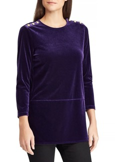 Lauren Ralph Lauren Three-Quarter Velvet Top