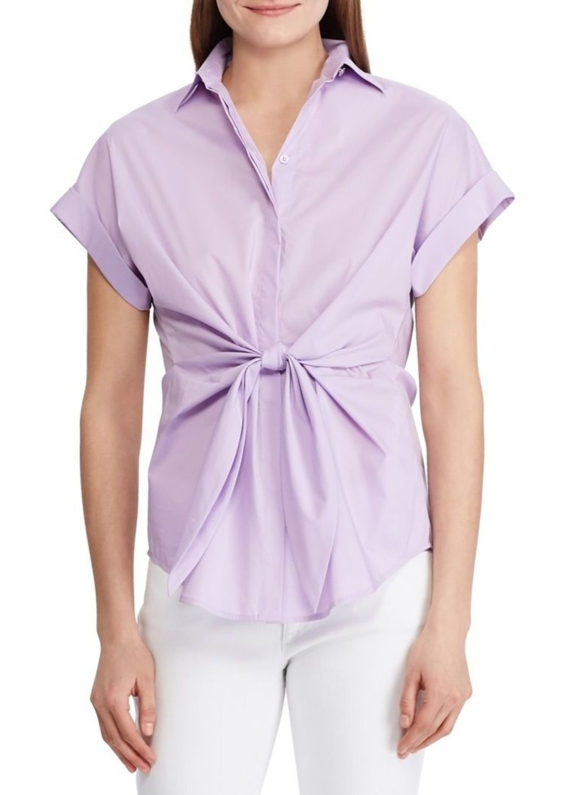 Lauren Ralph Lauren Tie-Front Cotton Blend Shirt