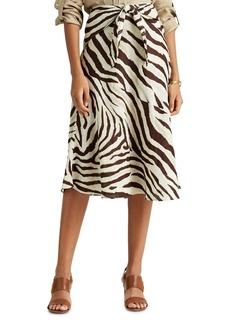 Lauren Ralph Lauren Tie-Waist Animal Print Midi Skirt