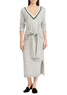 Lauren Ralph Lauren Tied-Waist Cotton-Blend Dress