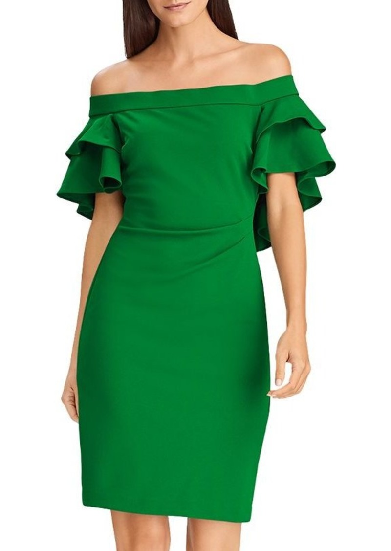 Lauren Ralph Lauren Tiered Capelet Off-the-Shoulder Dress