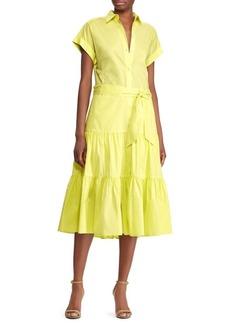 Lauren Ralph Lauren Tiered Hem Button Front Dress