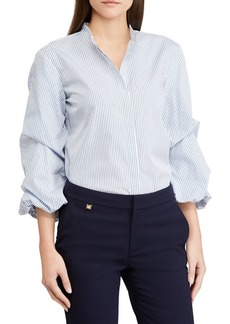 Lauren Ralph Lauren Tiered Puffed-Sleeve Cotton Shirt