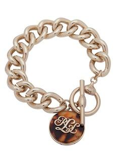 Lauren Ralph Lauren Tortoise Logo Charm Toggle Bracelet
