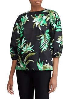 Lauren Ralph Lauren Tropical Bishop-Sleeve Top