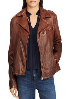 Lauren Ralph Lauren Tumbled Leather Moto Jacket