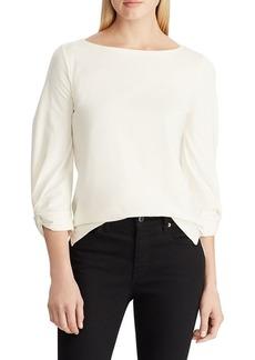Lauren Ralph Lauren Twisted Cuff Boatneck Cotton-Blend Top