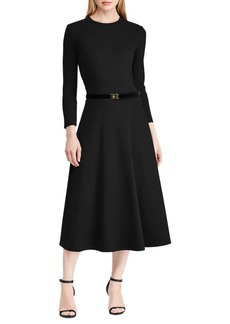Lauren Ralph Lauren Two-Piece Roundneck A-Line Dress & Velvet Belt Set