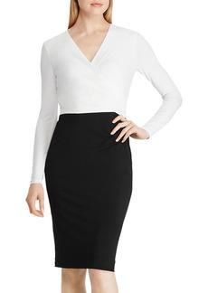 Lauren Ralph Lauren Two-Tone Crossover V-Neck Dress