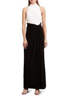 Lauren Ralph Lauren Two Tone Mock Neck Gown