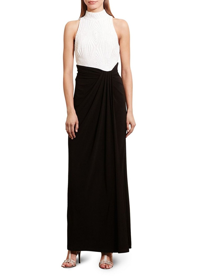 Lauren Ralph Lauren Two Tone Mock Neck Gown