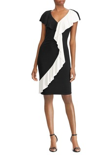 Lauren Ralph Lauren Two-Tone Ruffle-Trim Dress