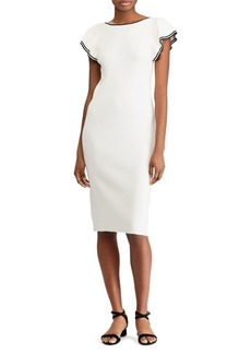 Lauren Ralph Lauren Two-Tone Tiered Flutter-Sleeve Sheath Dress