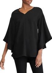 Lauren Ralph Lauren V-Neck Bell-Sleeve Crepe Top
