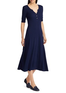 Lauren Ralph Lauren V-Neck Cotton Fit-&-Flare Midi Dress