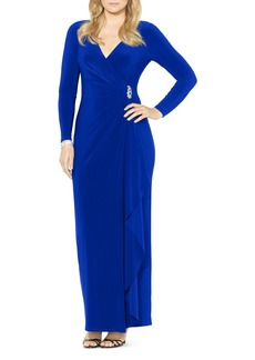 Lauren Ralph Lauren V-Neck Matte Jersey Gown