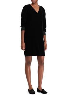 Lauren Ralph Lauren V-Neck Velvet Shift Dress