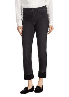 Lauren Ralph Lauren Velvet Cuff Straight Jeans in Black