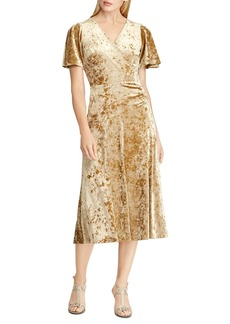 Lauren Ralph Lauren Velvet Faux-Wrap Dress