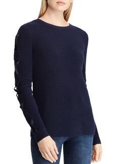 Lauren Ralph Lauren Velvet Lace-Up Sleeve Sweater
