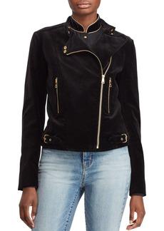 Lauren Ralph Lauren Velvet Moto Jacket