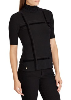 Lauren Ralph Lauren Velvet Striped Turtleneck Top