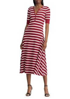 Lauren Ralph Lauren Waffle-Knit Striped Cotton Midi Dress