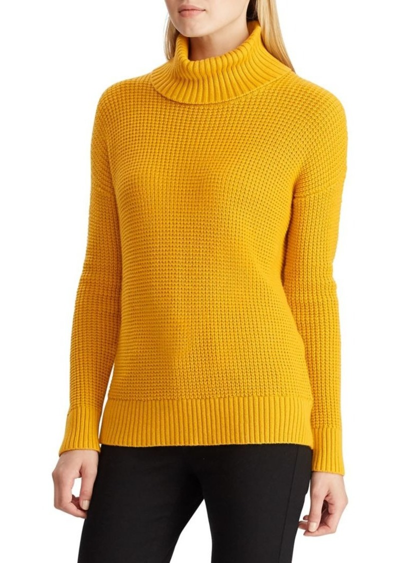 Lauren Ralph Lauren Waffle-Knit Turtleneck Merino Wool & Cotton-Blend Sweater