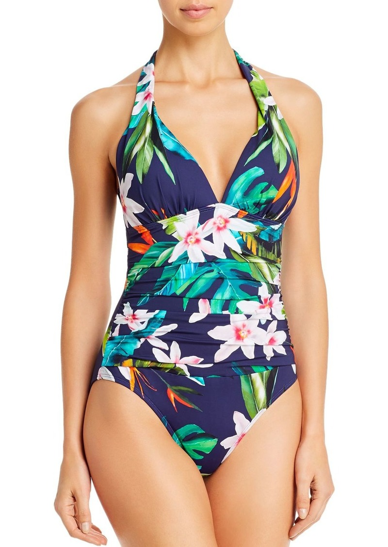 Lauren Ralph Lauren Watercolor Floral Halter One Piece Swimsuit