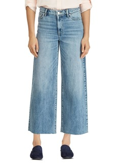 Lauren Ralph Lauren Wide-Leg Crop Raw-Hem Jeans in Blue