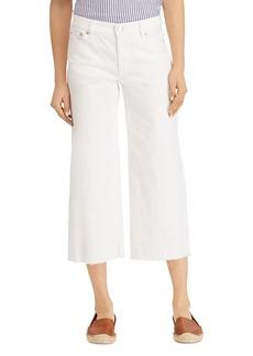 Lauren Ralph Lauren Wide-Leg Released-Hem Crop Jeans in White