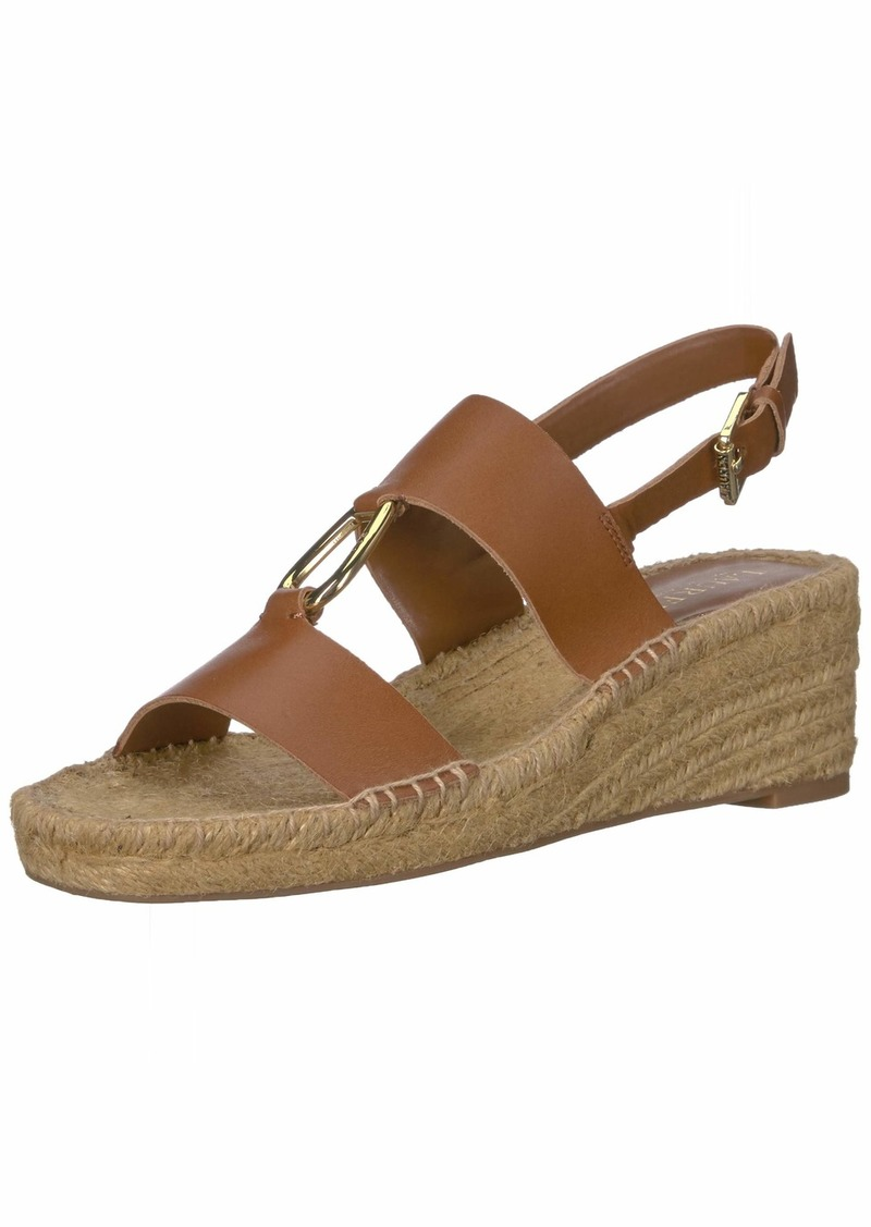 Lauren Ralph Lauren Women's Bena Espadrille Wedge Sandal DEEP Saddle TAN 5.5 B US