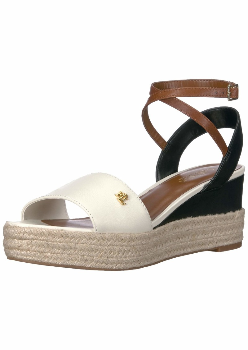 Lauren Ralph Lauren Women's Delores Sandal Vanilla/Black/DEEP Saddle TAN  B US