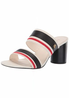 Lauren Ralph Lauren Women's ELMARIE Heeled Sandal Artist Cream/Black/RL2000RED 9 B US