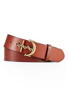 Ralph Lauren Leather Anchor-Buckle Belt