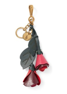 Ralph Lauren Leather-Flower Key Chain
