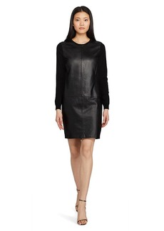 Leather-Front Cashmere Dress