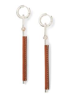 Ralph Lauren Leather-Silver Drop Earrings
