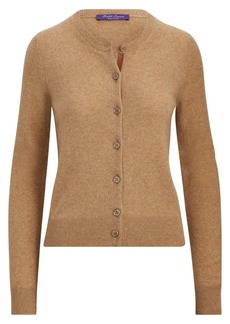 Ralph Lauren Leather Trim Cashmere Cardigan