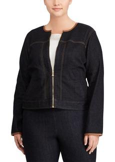 Ralph Lauren Leather-Trim Denim Jacket