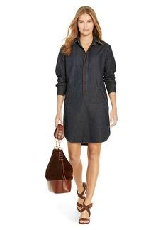 Leather-Trim Denim Shirtdress
