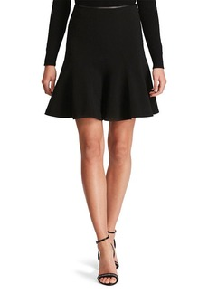 Leather-Trim Flared Skirt