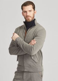 Ralph Lauren Leather-Trim Knit Track Jacket