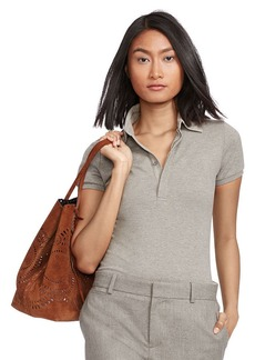 Ralph Lauren Leather-Trim Mesh Polo Shirt