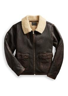 Ralph Lauren Leather-Trim Shearling Jacket