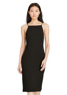 Ralph Lauren Leather-Trim Sheath Dress