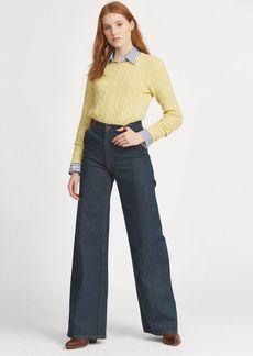 Ralph Lauren Leather-Trim Wide-Leg Jean