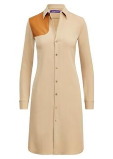 Leather-Trim Wool Shirtdress